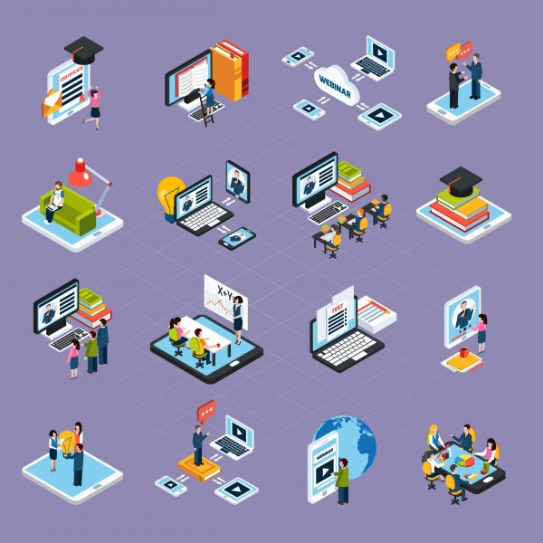 Webinar podcasting isometric icons set with laptop and people isolated vector illustration